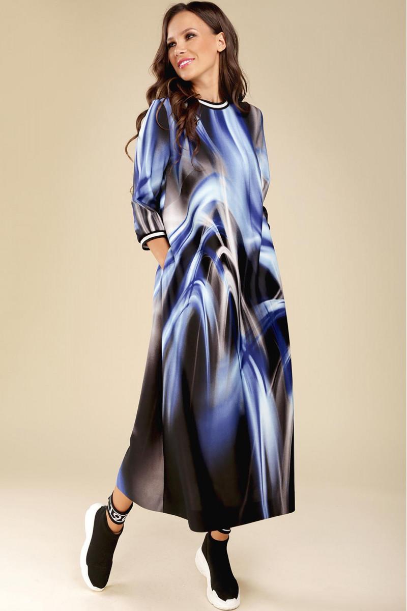 РАСПРОДАЖА Платье Teffi Style 1432 синие разводы